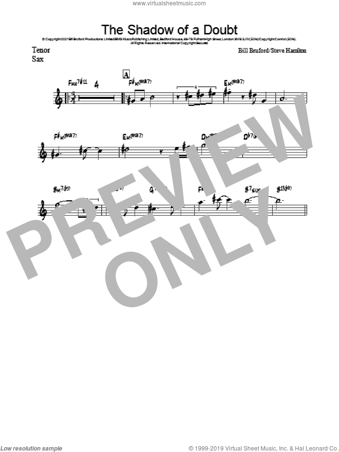 The Shadow Of A Doubt sheet music for voice and other instruments (fake book) by Bill Bruford, intermediate voice. Score Image Preview.
