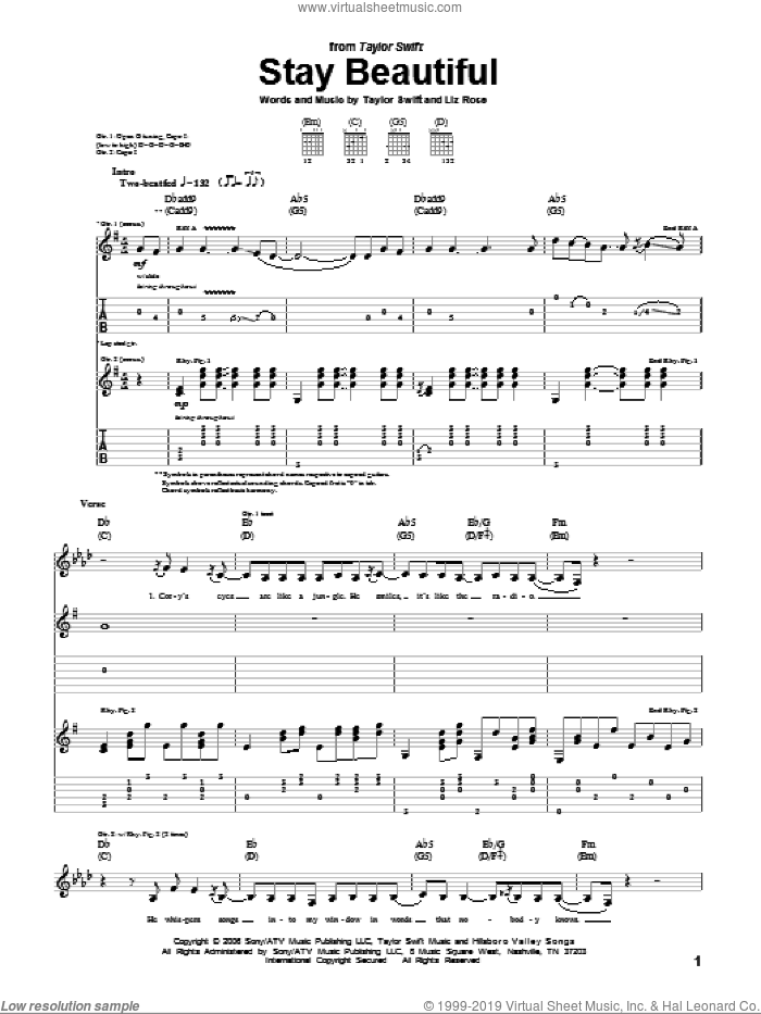 Stay Beautiful sheet music for guitar (tablature) by Taylor Swift and Liz Rose, intermediate guitar (tablature). Score Image Preview.