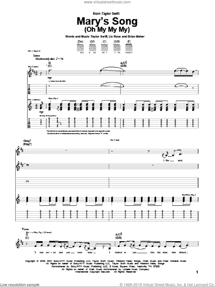 Mary's Song (Oh My My My) sheet music for guitar (tablature) by Liz Rose, Brian Maher and Taylor Swift. Score Image Preview.