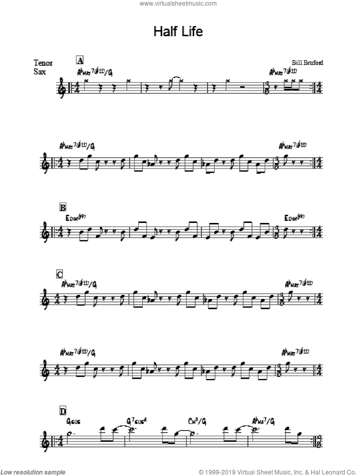 Half Life sheet music for voice and other instruments (fake book) by Bill Bruford. Score Image Preview.