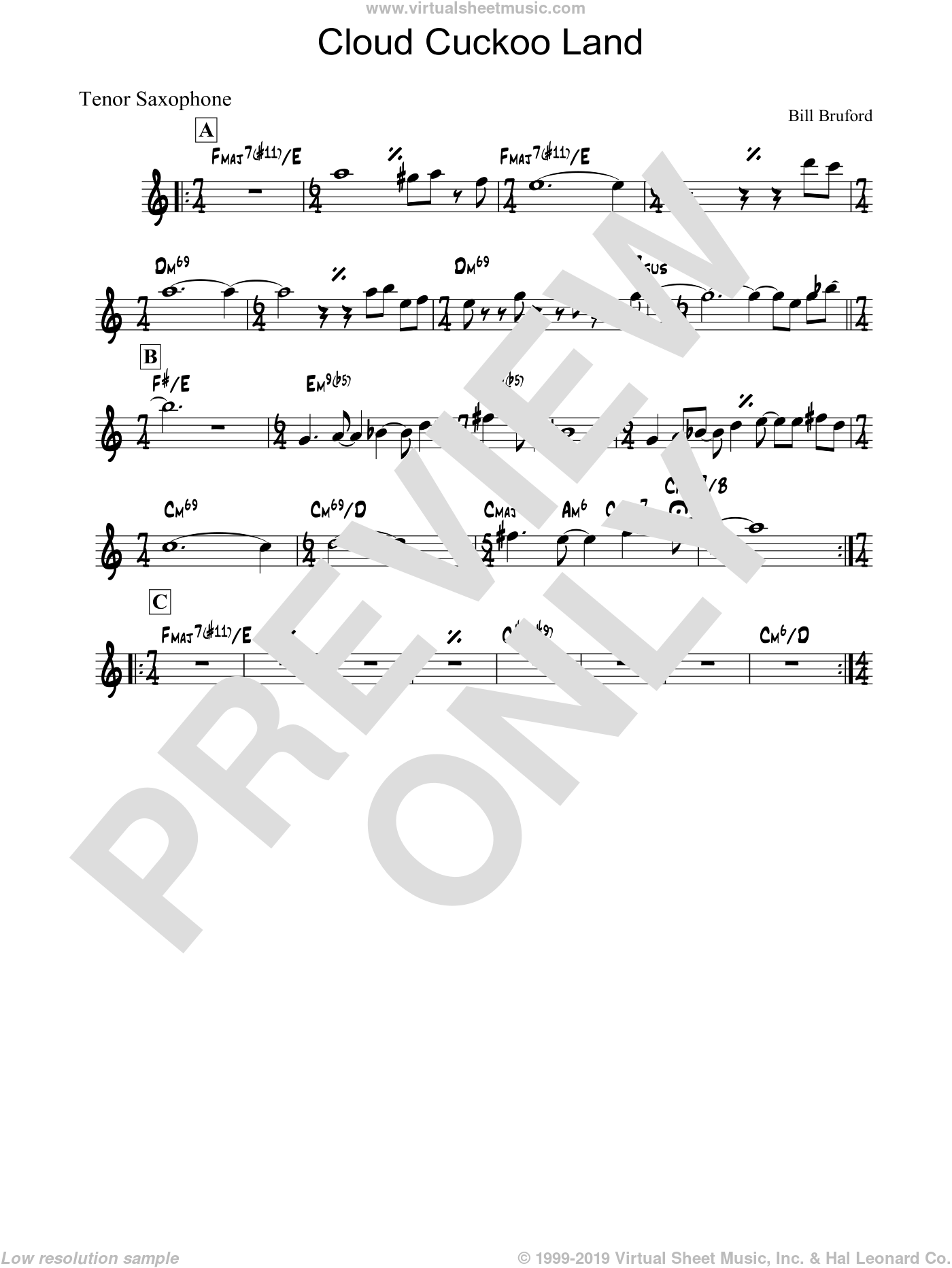 Cloud Cuckoo Land sheet music for voice and other instruments (fake book) by Bill Bruford
