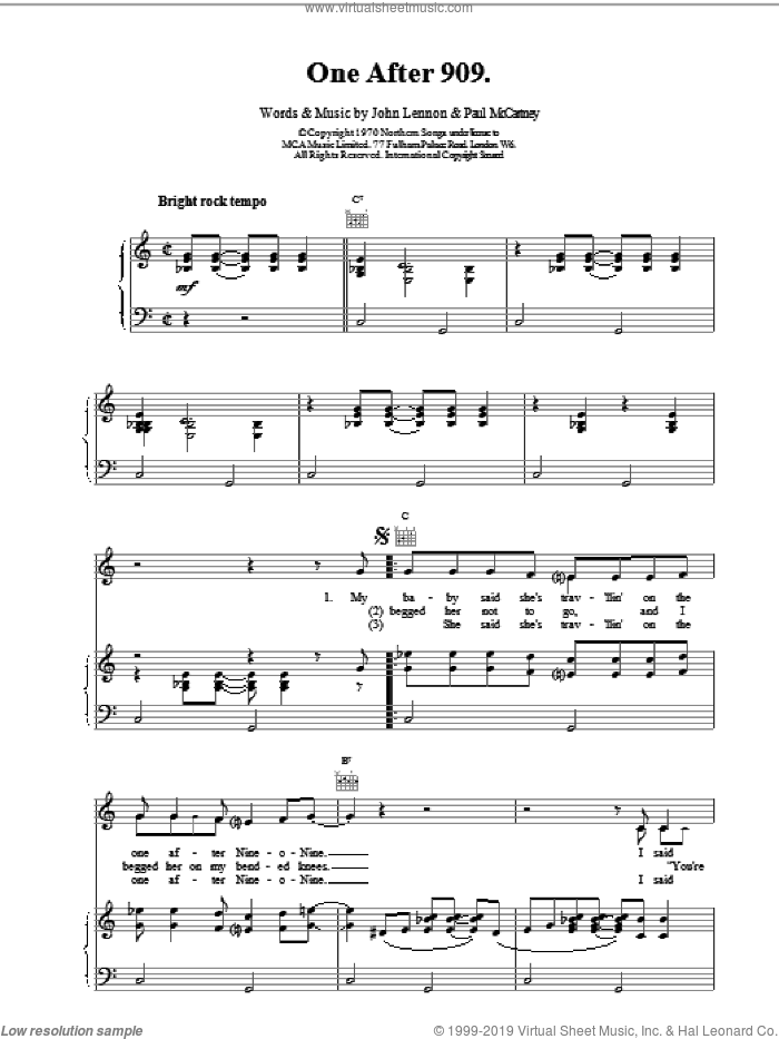 One After 909 sheet music for voice, piano or guitar by Paul McCartney and The Beatles. Score Image Preview.