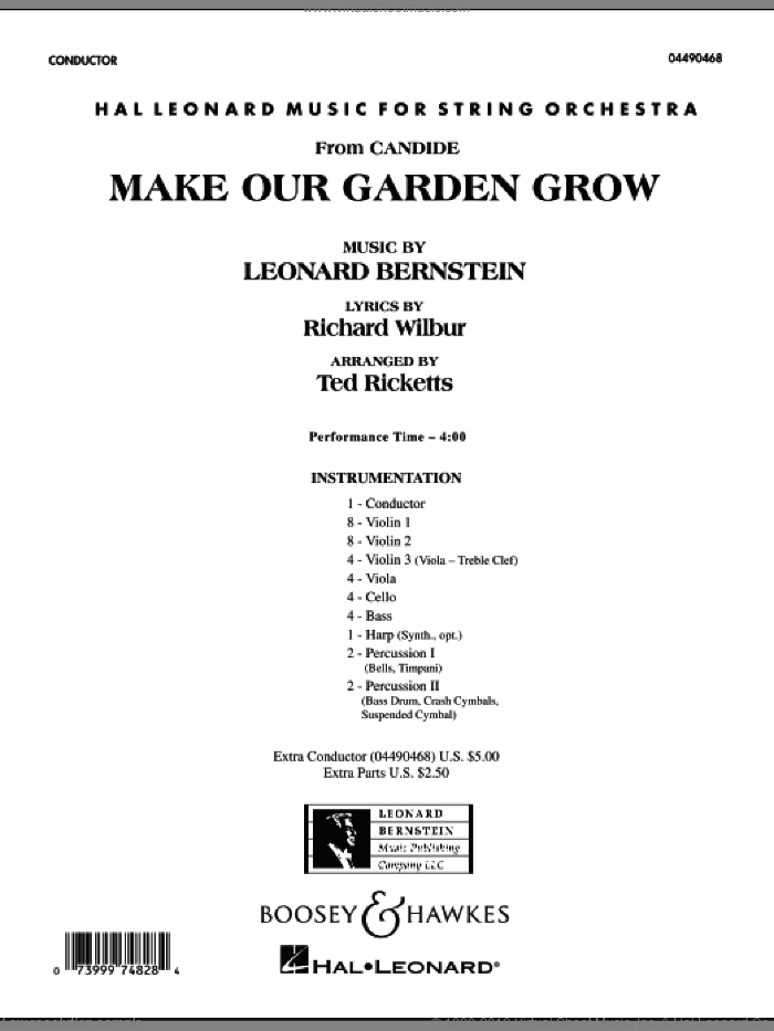 Make Our Garden Grow (from Candide) (COMPLETE) sheet music for orchestra by Leonard Bernstein and Ted Ricketts, intermediate skill level