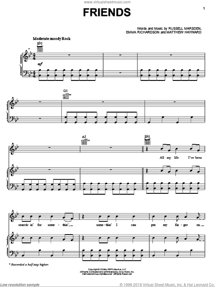 Friends sheet music for voice, piano or guitar by Band Of Skulls, Twilight: New Moon (Movie), Emma Richardson, Matthew Hayward and Russell Marsden, intermediate skill level
