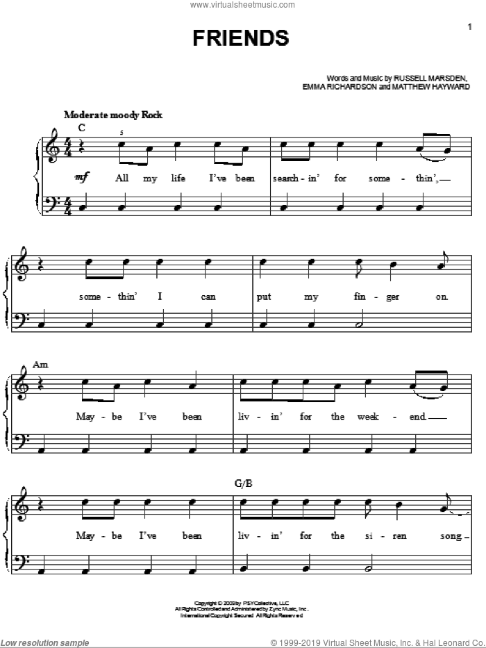 Friends sheet music for piano solo by Band Of Skulls, Twilight: New Moon (Movie), Emma Richardson, Matthew Hayward and Russell Marsden, easy skill level