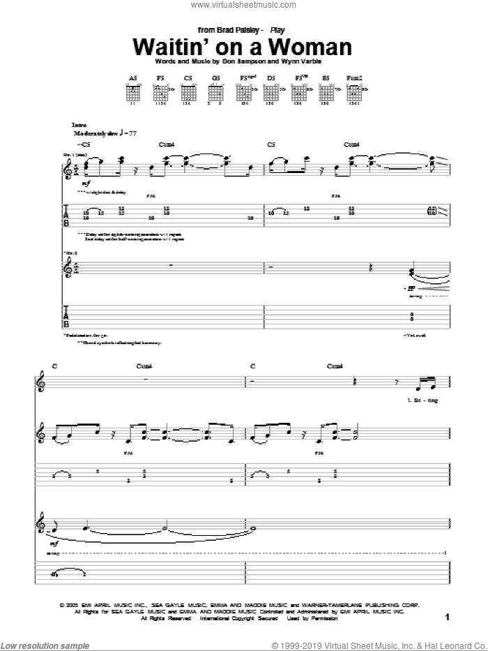 Waitin' On A Woman sheet music for guitar (tablature) by Wynn Varble, Brad Paisley and Don Sampson. Score Image Preview.