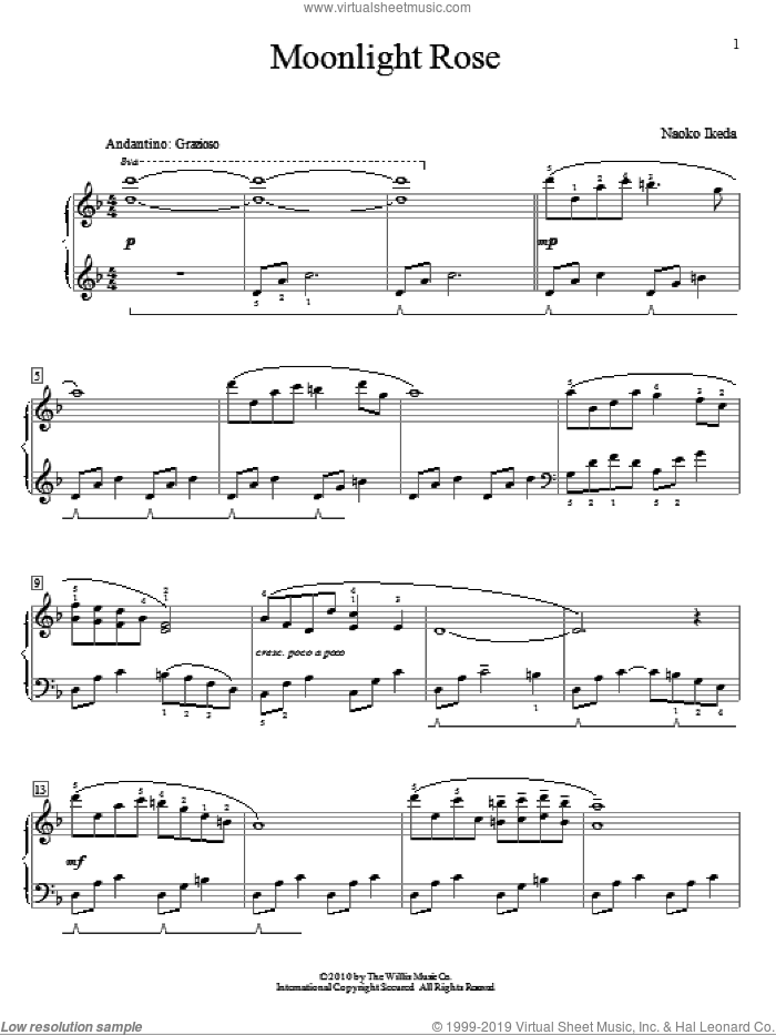 Moonlight Rose sheet music for piano solo (elementary) by Naoko Ikeda, beginner piano (elementary)
