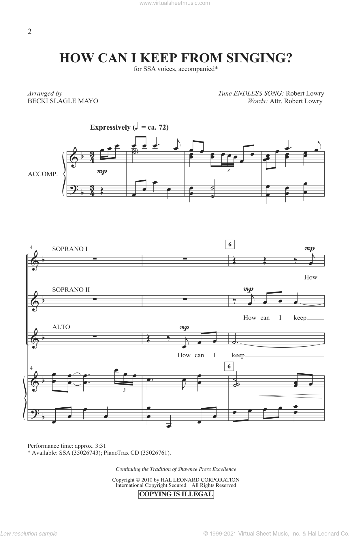 How Can I Keep From Singing? sheet music for choir and piano (SSA)