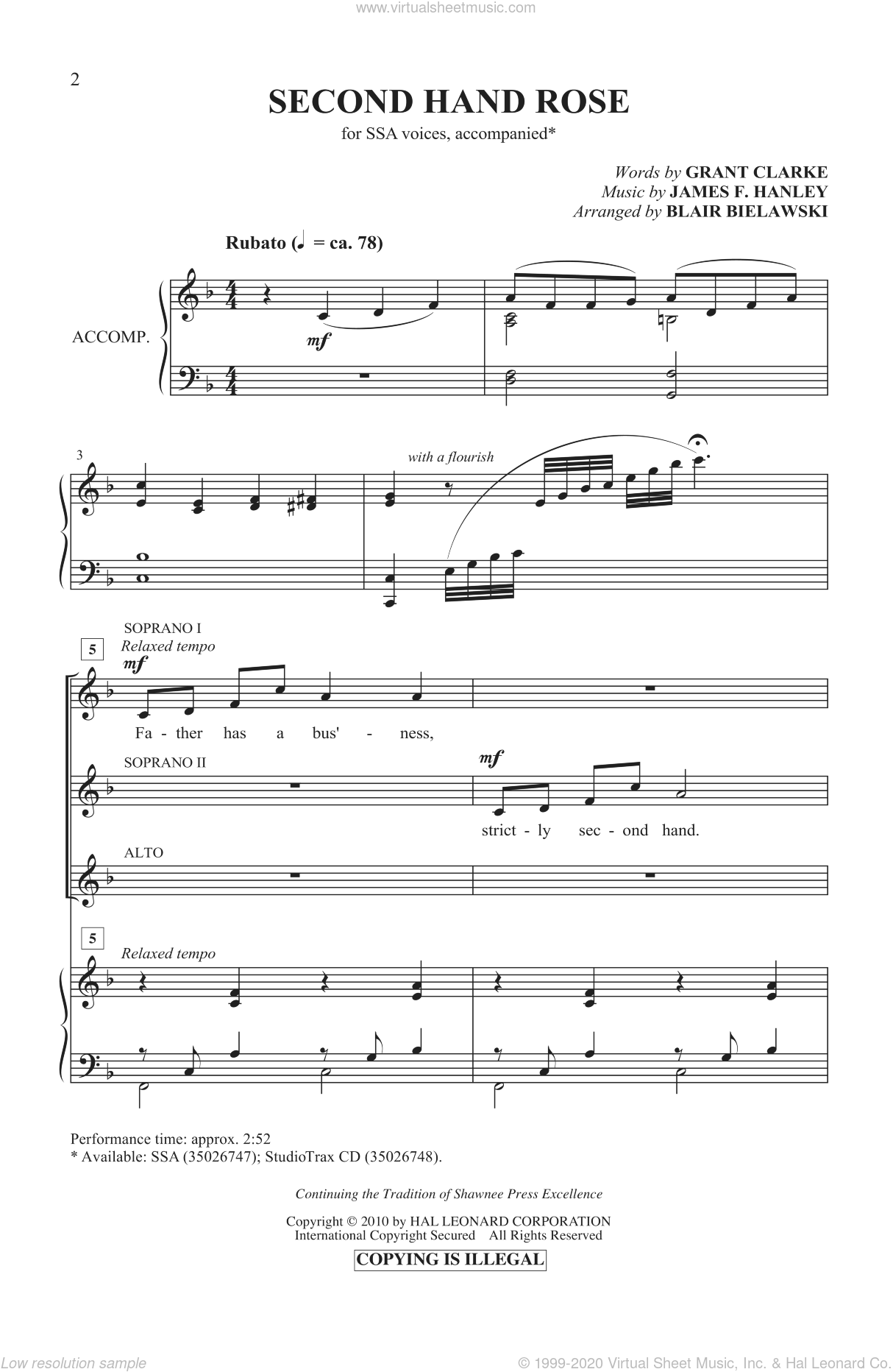 Second Hand Rose sheet music for choir and piano (SSA) by Grant Clarke