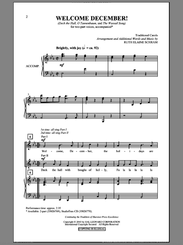 Welcome, December! sheet music for choir (duets) by Ruth Elaine Schram. Score Image Preview.