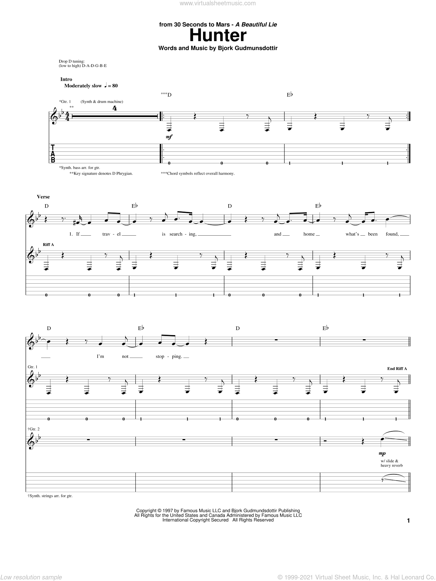 Hunter sheet music for guitar (tablature) by Bjork Gudmundsdottir