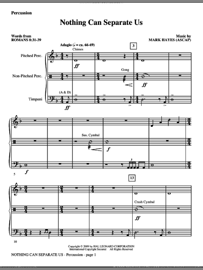 Nothing Can Separate Us sheet music for orchestra/band (percussion) by Mark Hayes