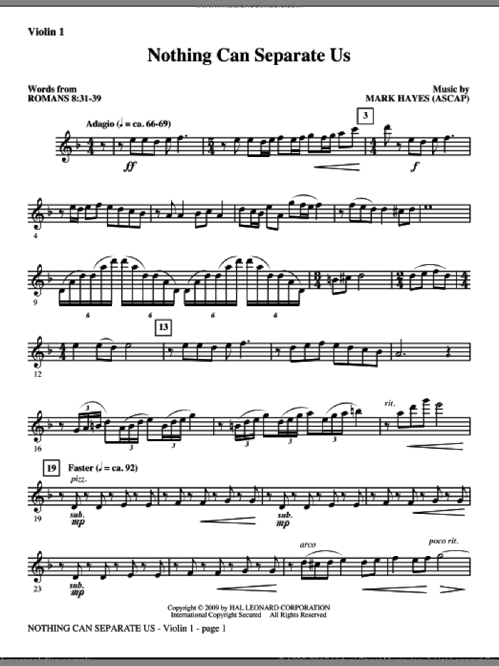 Nothing Can Separate Us sheet music for orchestra/band (violin 1) by Mark Hayes