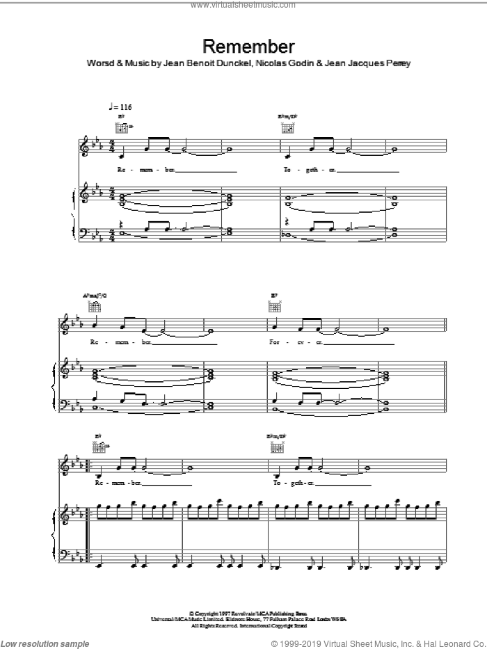 Remember sheet music for voice, piano or guitar by Air, Jean Jacques Perrey, Jean-Benoit Dunckel and Nicolas Godin, intermediate skill level
