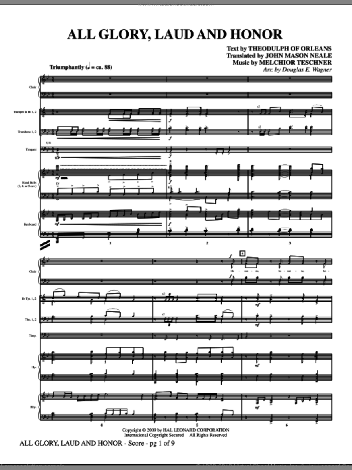 All Glory, Laud And Honor (COMPLETE) sheet music for orchestra/band (Special) by Douglas E. Wagner, intermediate. Score Image Preview.