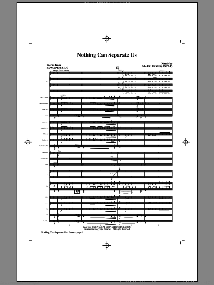 Nothing Can Separate Us (COMPLETE) sheet music for orchestra/band (Orchestra) by Mark Hayes, intermediate skill level