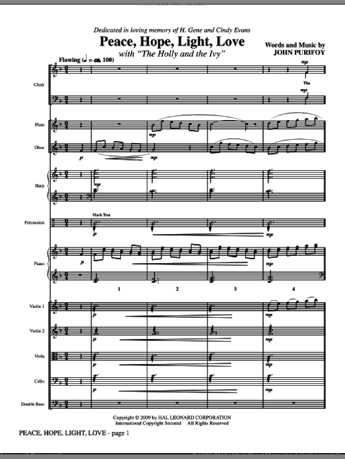 Peace, Hope, Light, Love (with The Holly And The Ivy) (COMPLETE) sheet music for orchestra/band (Orchestra) by John Purifoy, classical score, intermediate skill level