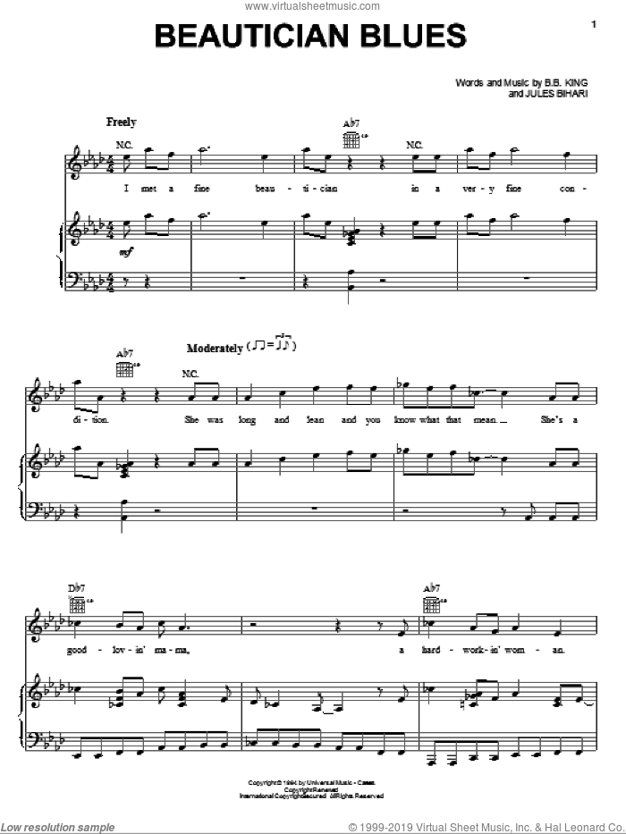 Beautician Blues sheet music for voice, piano or guitar by B.B. King, intermediate. Score Image Preview.