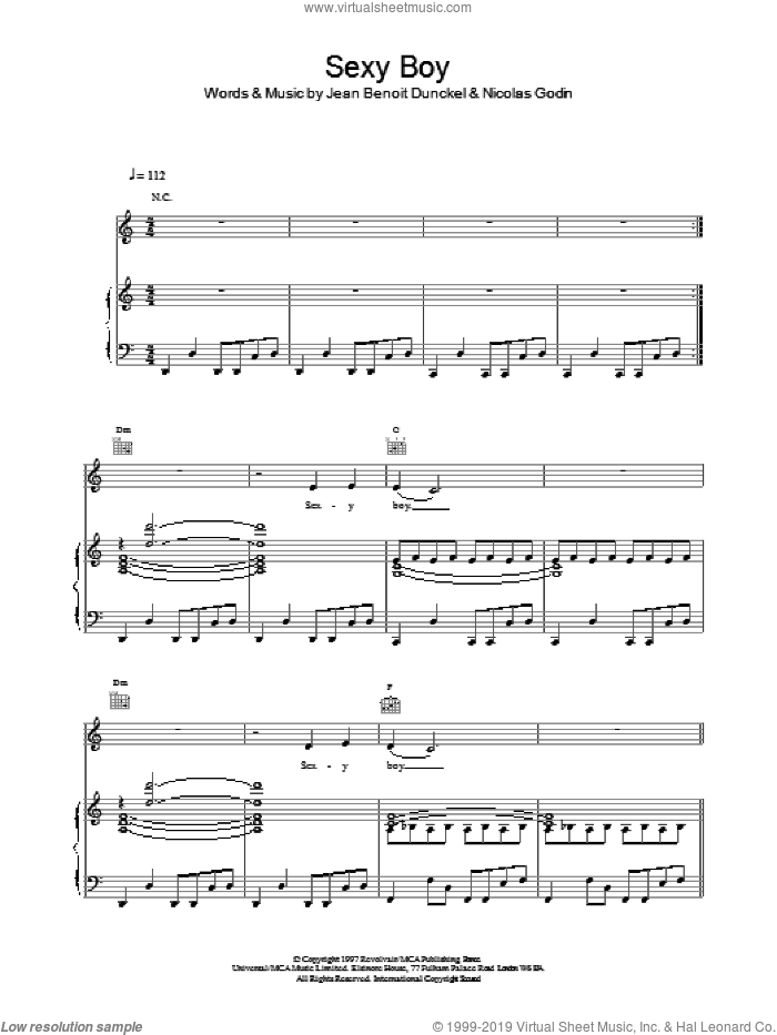 Sexy Boy sheet music for voice, piano or guitar by Air, Jean-Benoit Dunckel and Nicolas Godin, intermediate skill level