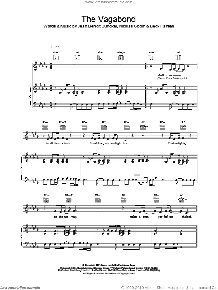 The Vagabond sheet music for voice, piano or guitar by Nicolas Godin