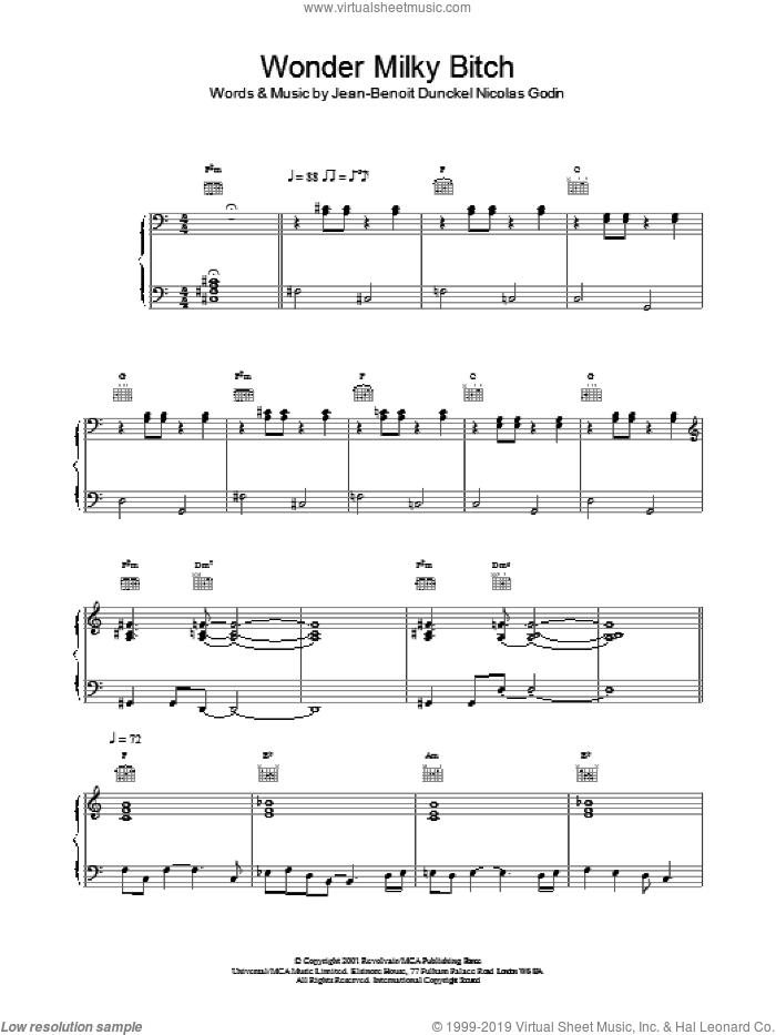 Wonder Milky Bitch sheet music for voice, piano or guitar by Air, Jean-Benoit Dunckel and Nicolas Godin, intermediate skill level
