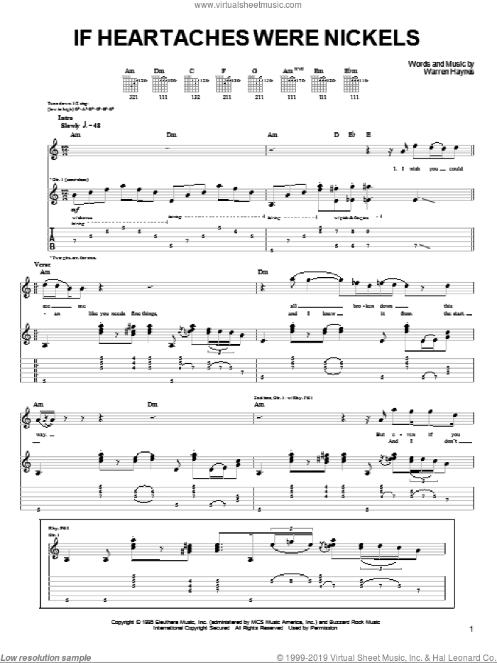 If Heartaches Were Nickels sheet music for guitar (tablature) by Joe Bonamassa