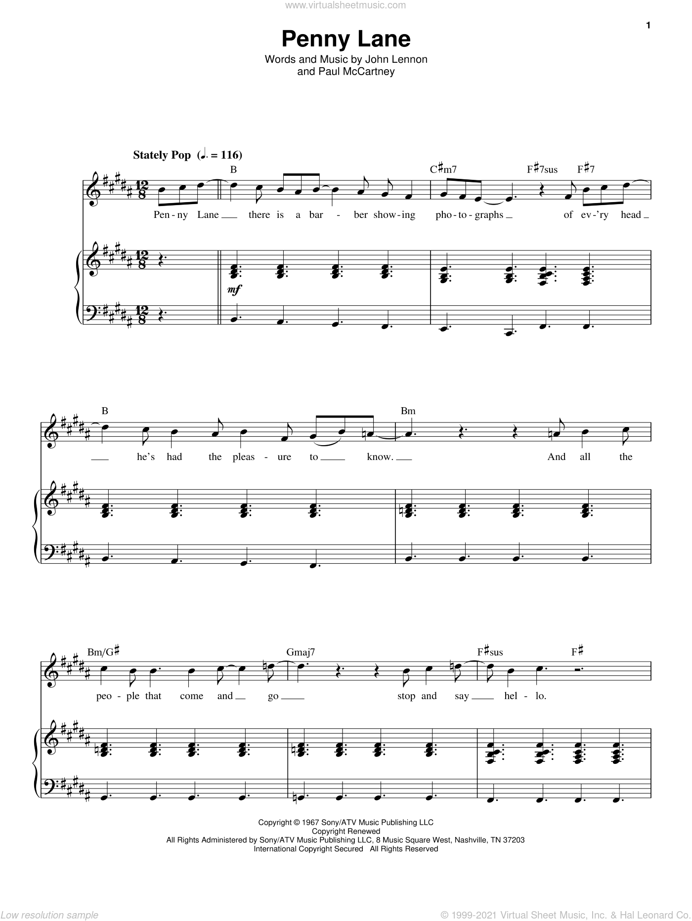Penny Lane sheet music for voice and piano by The Beatles, John Lennon and Paul McCartney, intermediate skill level