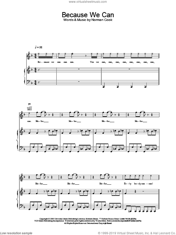 Because We Can sheet music for voice, piano or guitar by Norman Cook and Fatboy Slim. Score Image Preview.
