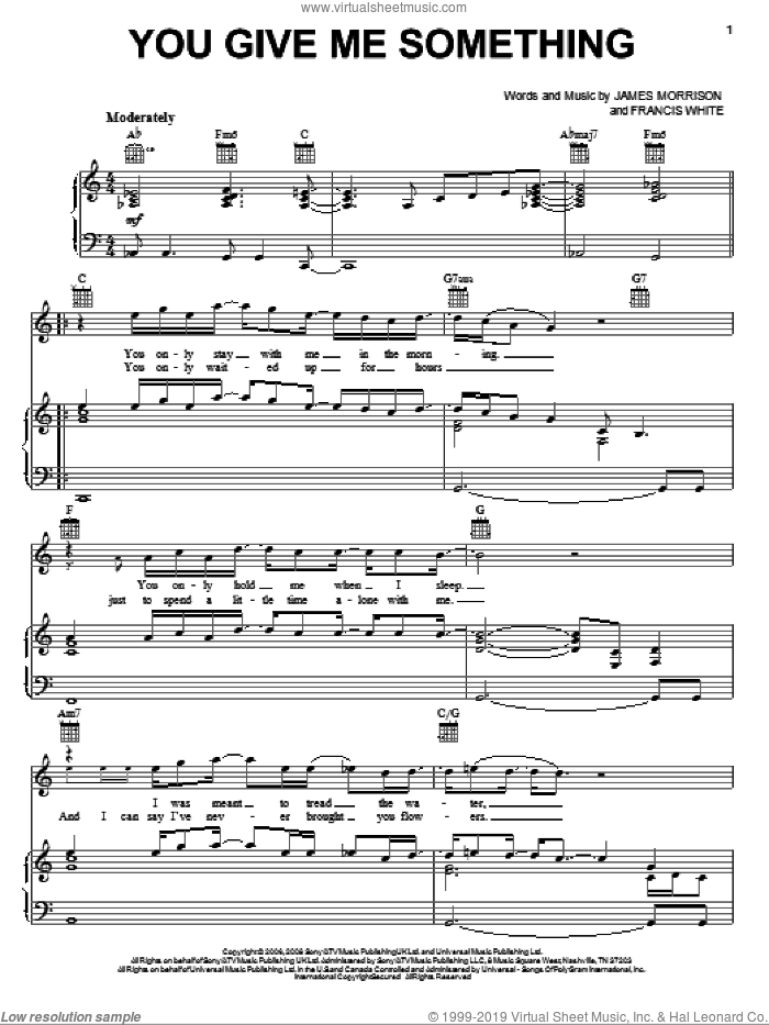 You Give Me Something sheet music for voice, piano or guitar by James Morrison and Francis White, intermediate skill level