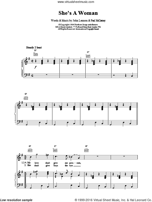 She's A Woman sheet music for voice, piano or guitar by The Beatles. Score Image Preview.