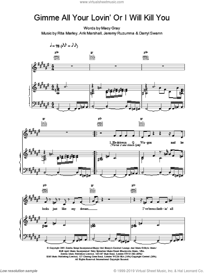 Gimme All Your Lovin' Or I Will Kill You sheet music for voice, piano or guitar by Macy Gray