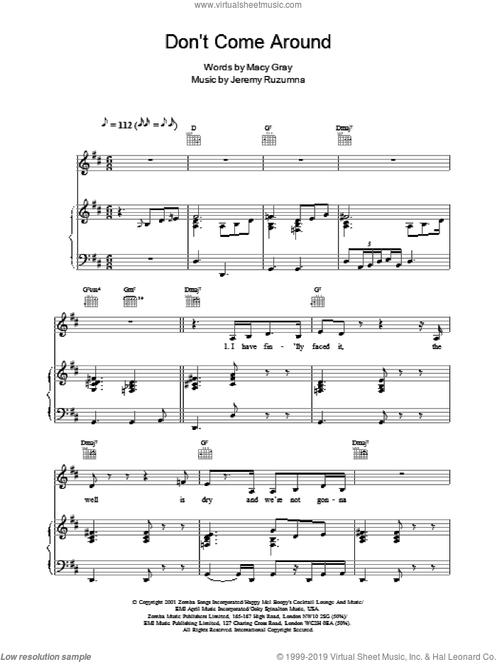 Don't Come Around sheet music for voice, piano or guitar by Jeremy Ruzumna and Macy Gray. Score Image Preview.