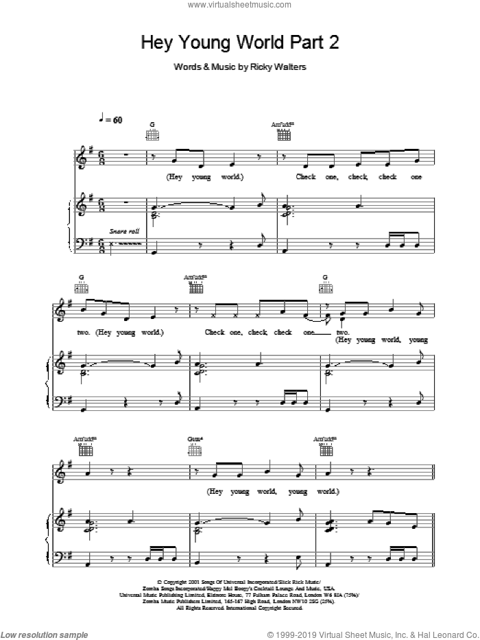 Hey Young World Part 2 sheet music for voice, piano or guitar by Ricky Walters