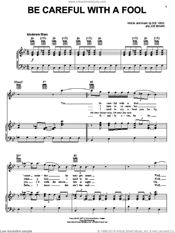 Be Careful With A Fool sheet music for voice, piano or guitar by B.B. King and Joe Bihari, intermediate skill level