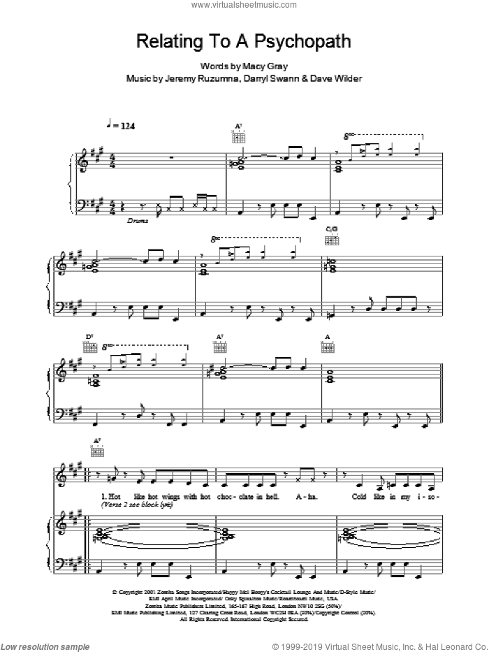 Relating To A Psychopath sheet music for voice, piano or guitar by Jeremy Ruzumna, Darryl Swann and Macy Gray. Score Image Preview.
