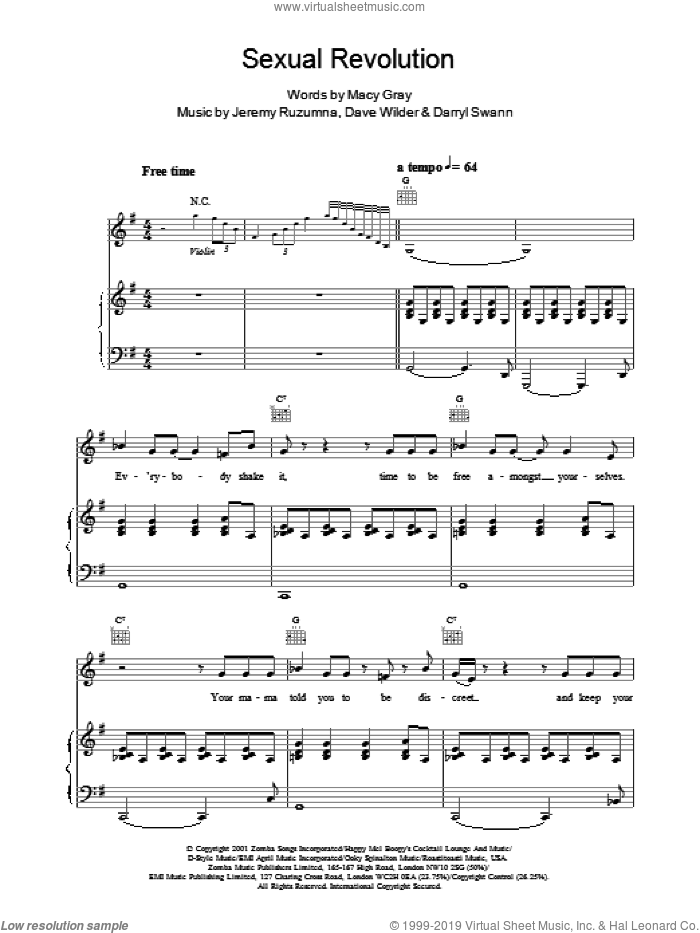 Sexual Revolution sheet music for voice, piano or guitar by Jeremy Ruzumna and Macy Gray. Score Image Preview.