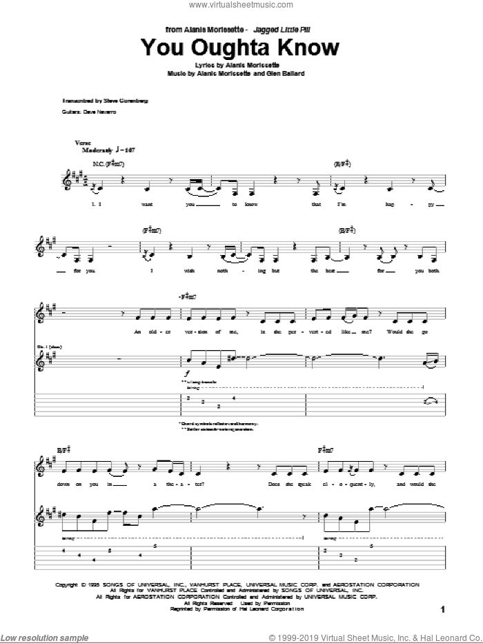 You Oughta Know sheet music for guitar (tablature) by Alanis Morissette and Glen Ballard, intermediate guitar (tablature). Score Image Preview.