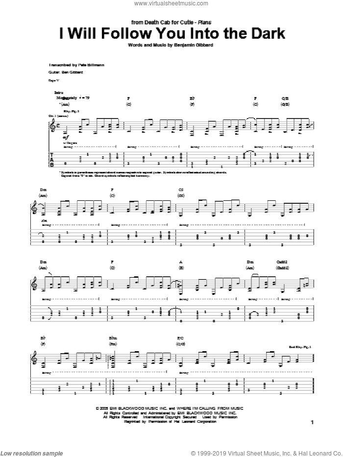 I Will Follow You Into The Dark sheet music for guitar (tablature) by Death Cab For Cutie and Benjamin Gibbard, intermediate