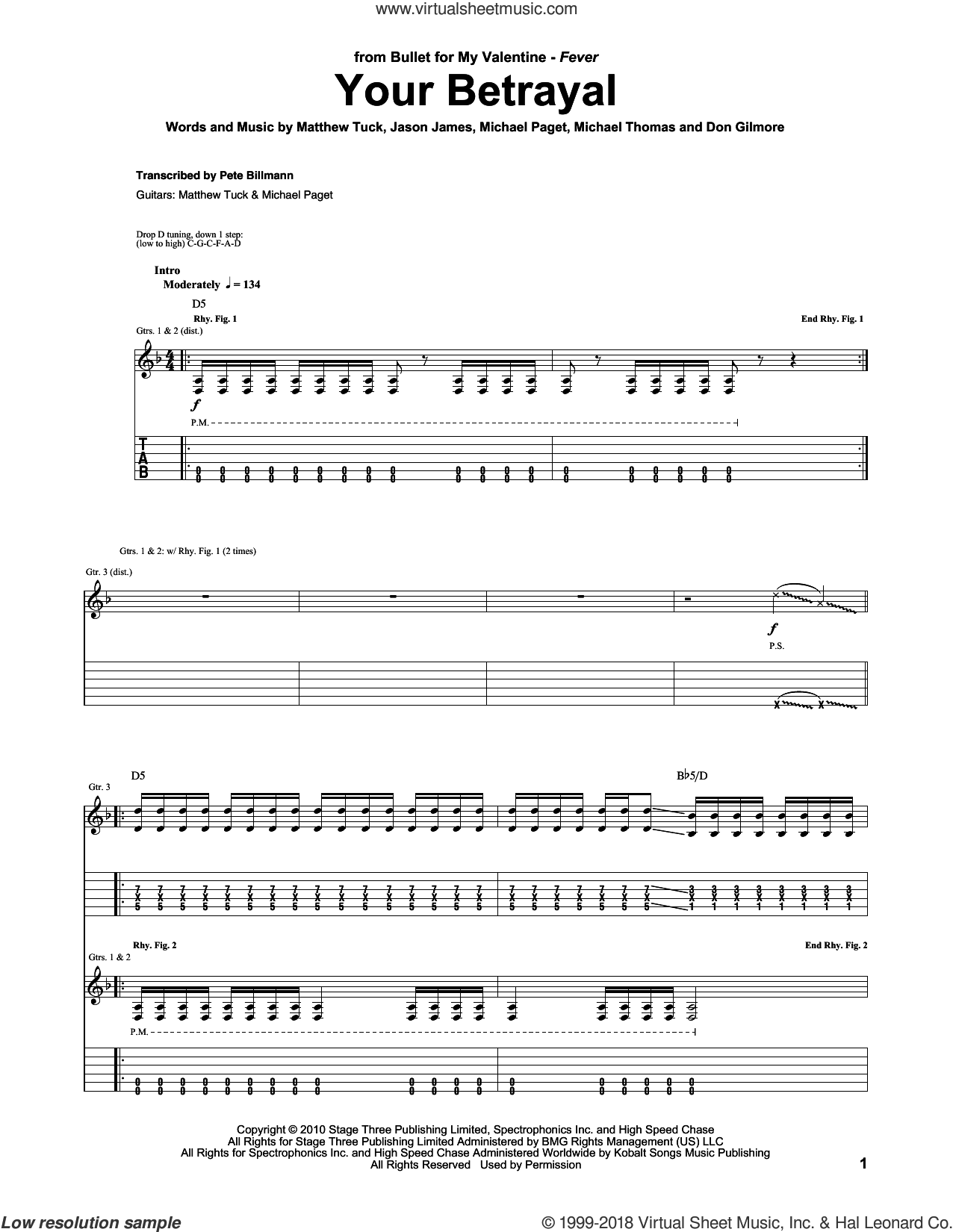 Your Betrayal sheet music for guitar (tablature) by Bullet For My Valentine, Don Gilmore, Jason James, Matthew Tuck, Michael Paget and Michael Thomas, intermediate