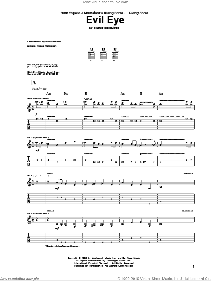 Evil Eye sheet music for guitar (tablature) by Yngwie Malmsteen. Score Image Preview.