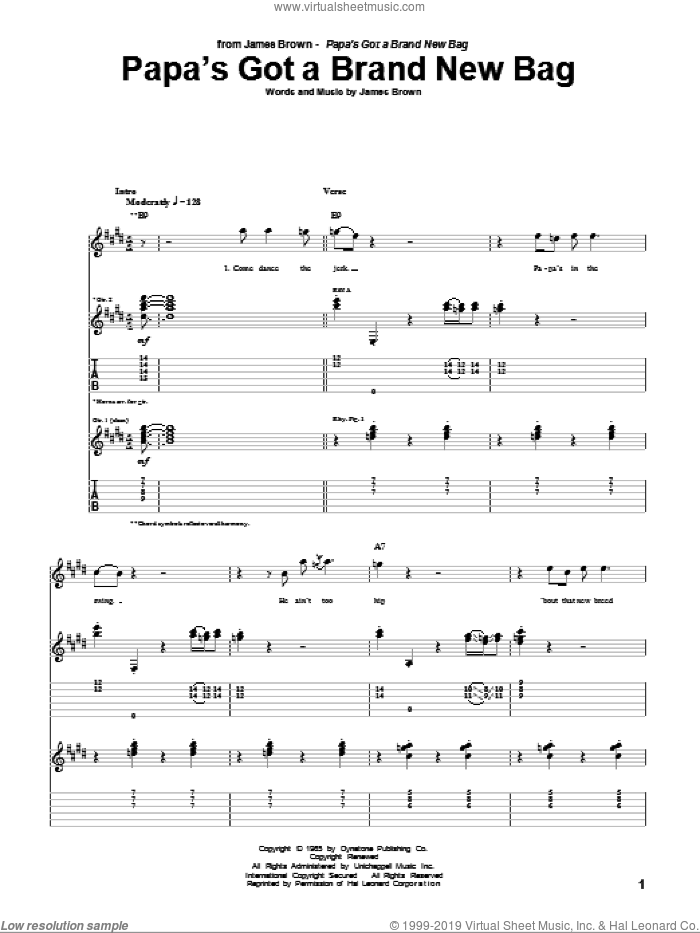 Papa's Got A Brand New Bag sheet music for guitar (tablature) by James Brown, intermediate skill level