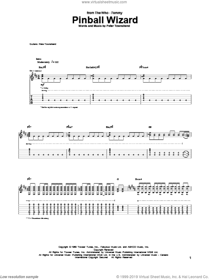 Pinball Wizard sheet music for guitar (tablature) by Pete Townshend and The Who. Score Image Preview.
