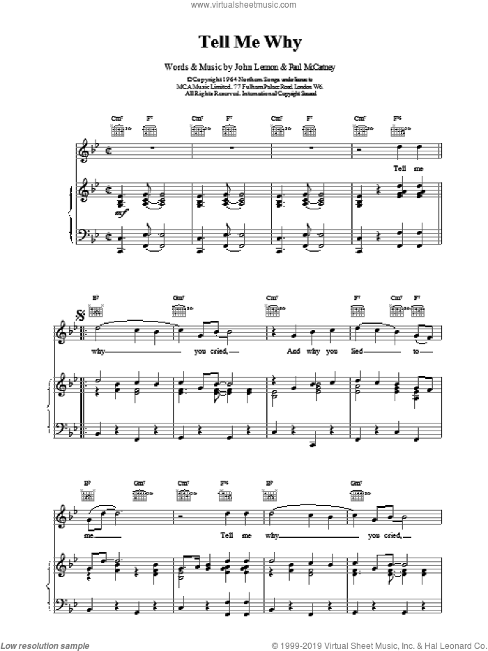Tell Me Why sheet music for voice, piano or guitar by The Beatles, intermediate