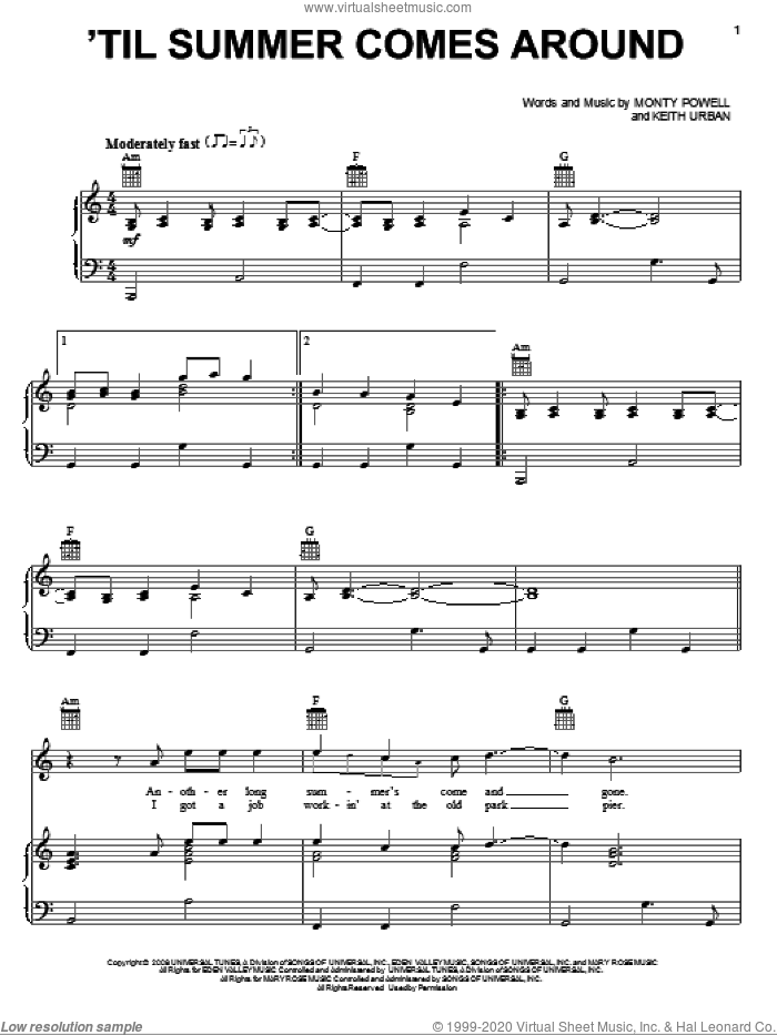 'Til Summer Comes Around sheet music for voice, piano or guitar by Keith Urban and Monty Powell, intermediate skill level