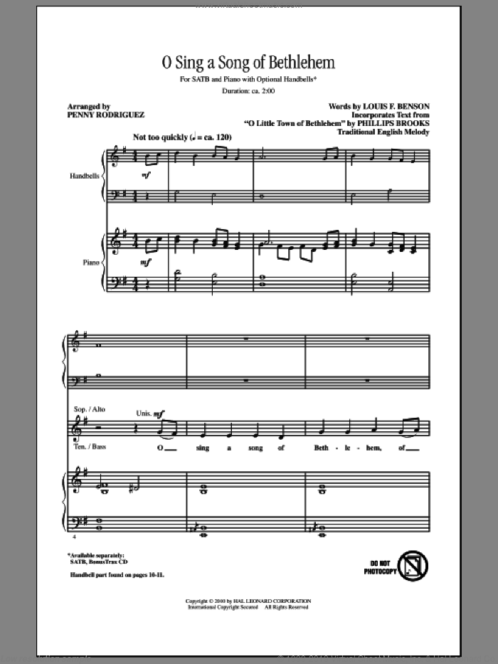 O Sing A Song Of Bethlehem sheet music for choir and piano (SATB) by Penny Rodriguez