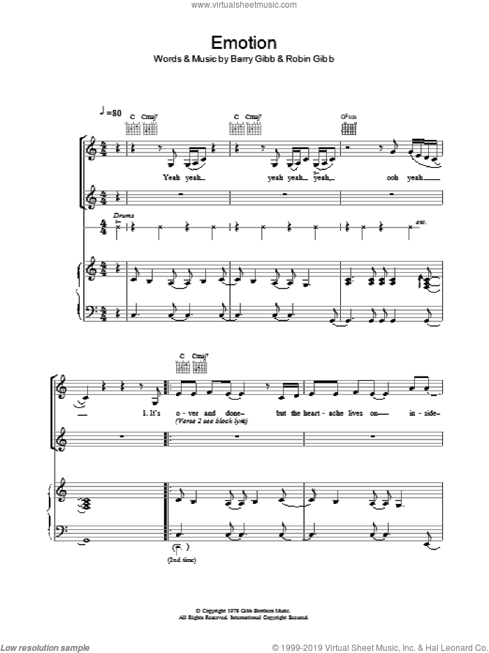Emotion sheet music for voice, piano or guitar by Destiny's Child, Bee Gees, Barry Gibb and Robin Gibb. Score Image Preview.