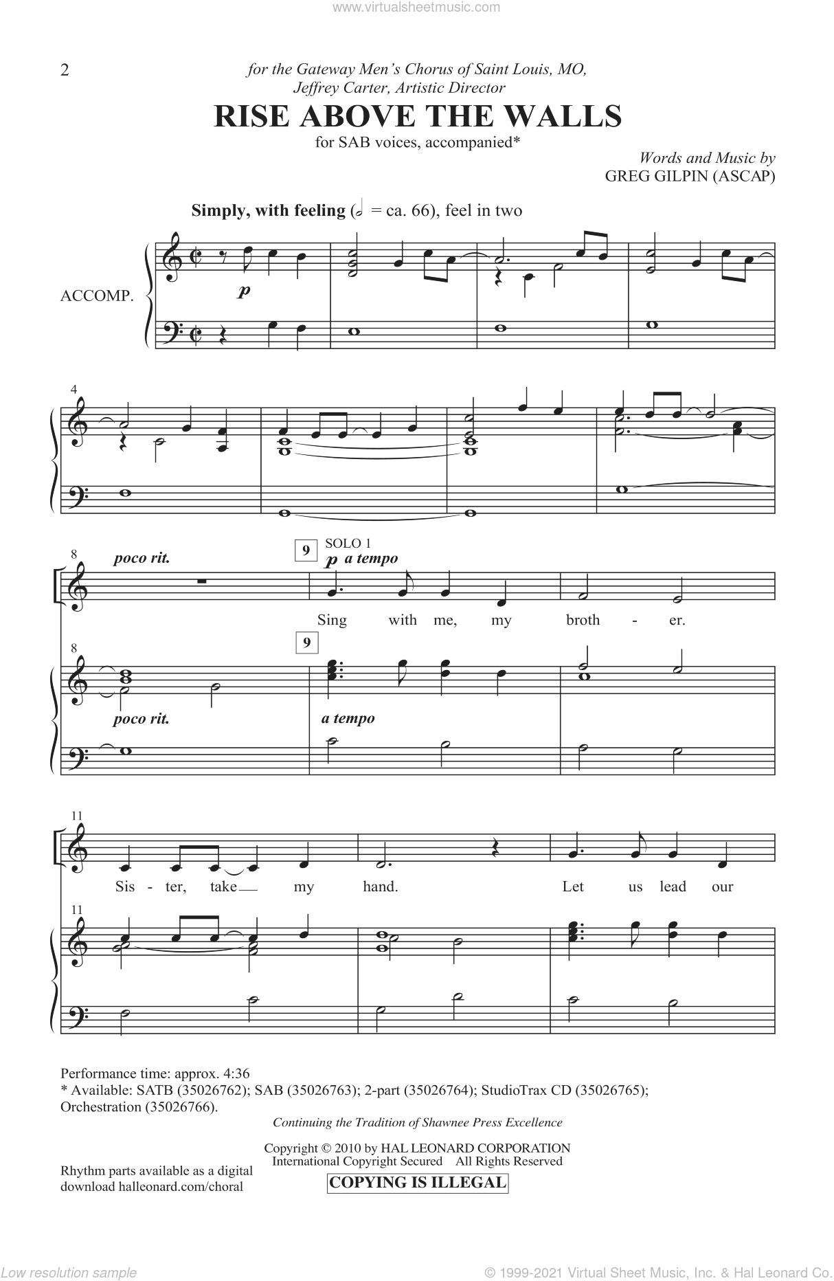 Rise Above The Walls sheet music for choir and piano (SAB) by Greg Gilpin