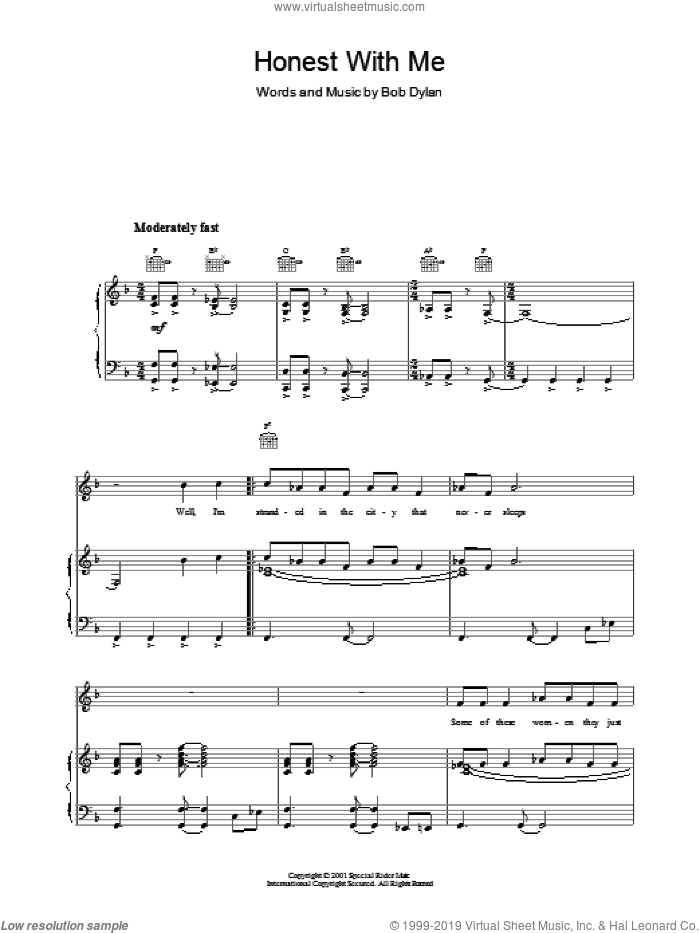 Honest With Me sheet music for voice, piano or guitar by Bob Dylan. Score Image Preview.