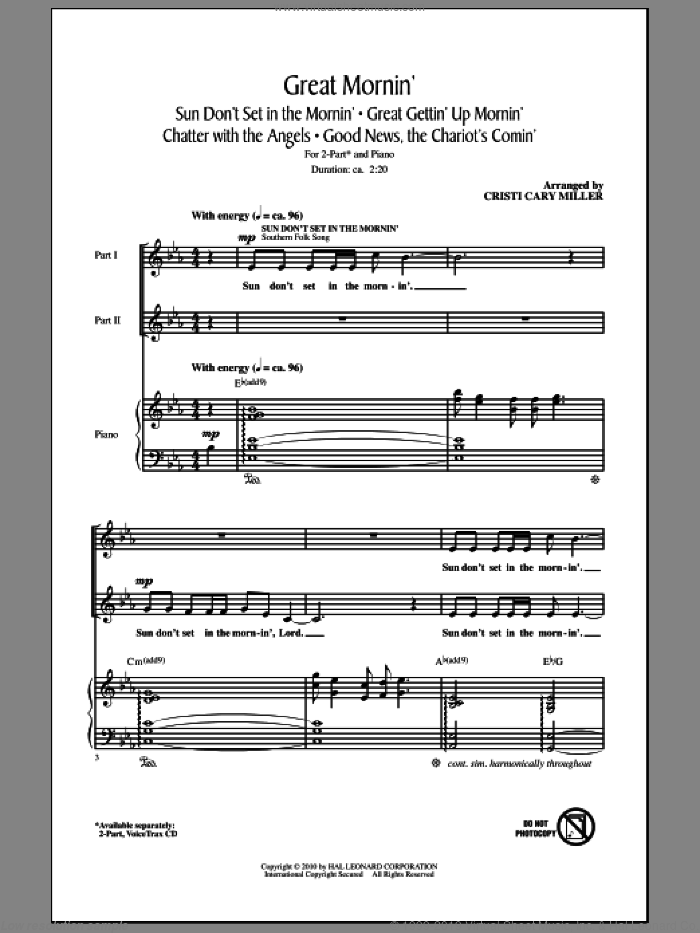 Great Mornin' sheet music for choir and piano (duets) by Cristi Cary Miller. Score Image Preview.