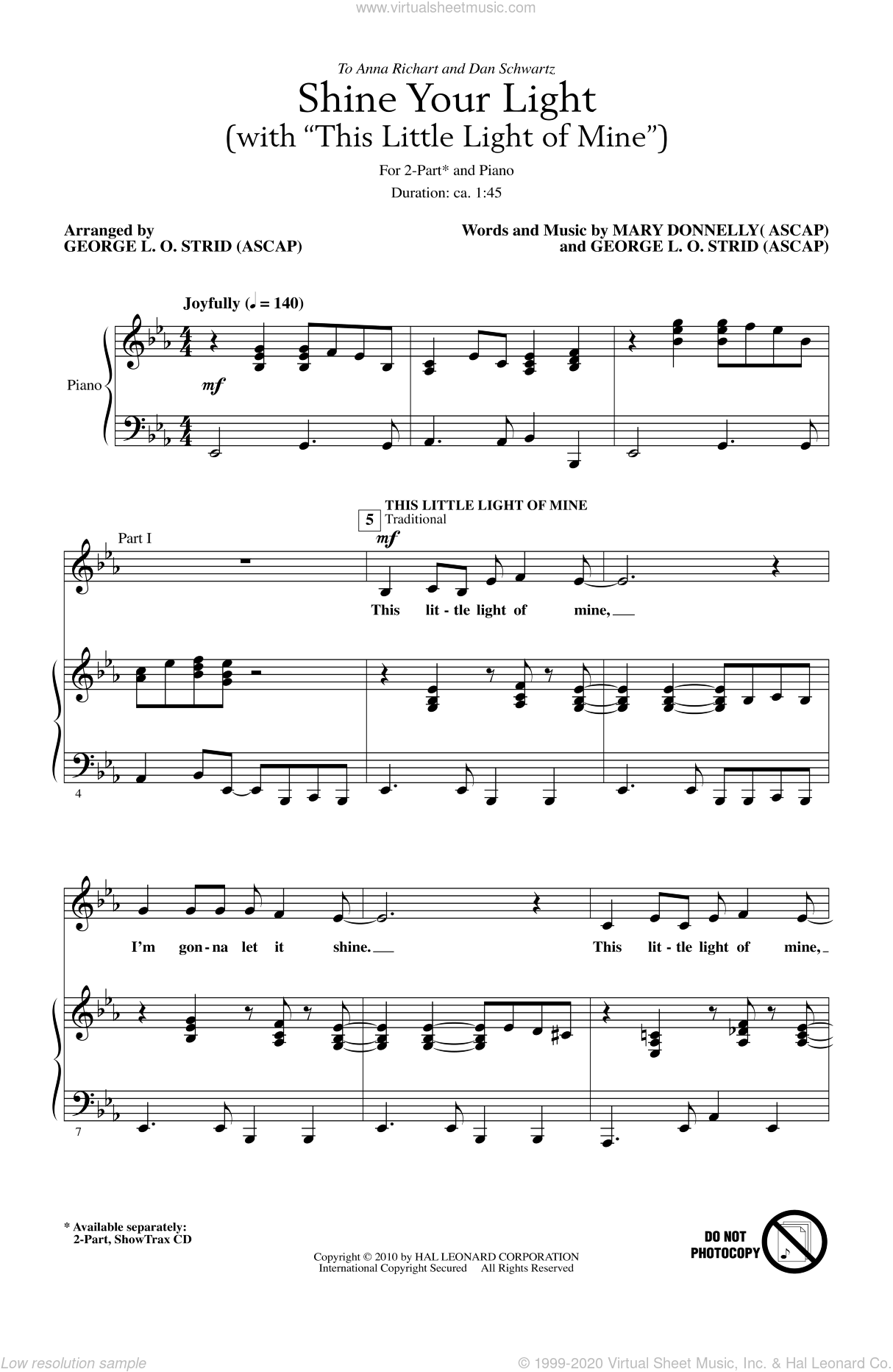 Shine Your Light (with This Little Light Of Mine) sheet music for choir (duets) by George L.O. Strid and Mary Donnelly, intermediate duet. Score Image Preview.